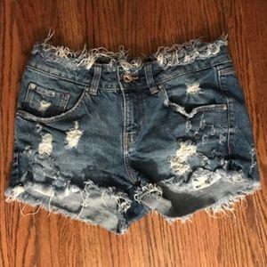 Zara distressed denim jean shorts